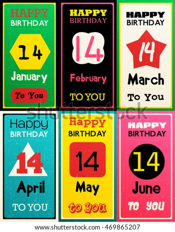 Greeting Happy Birthday Card Date Fourteen Of Birth By Month January February March