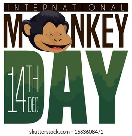 Greeting with happy, smiling chimp face and forest inside the text to celebrate International Monkey Day this 14th December.