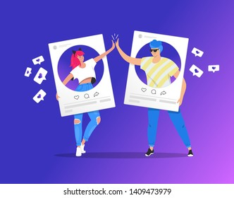 Greeting with a high five in social media between two teenage accounts. Gradient vector illustration of two young teenegers in social networks. People standing into photo cards with with a high five
