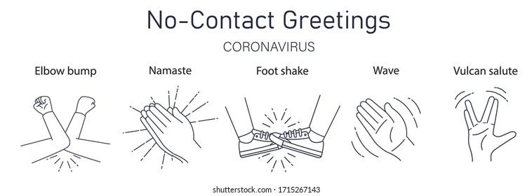 Greeting hit your elbow. Elbow bump. Safe greetings. Methods to prevent transmission of infection, virus, coronavirus, influenza. Coronavirus epidemic protective equipment. No hands. Flat vector