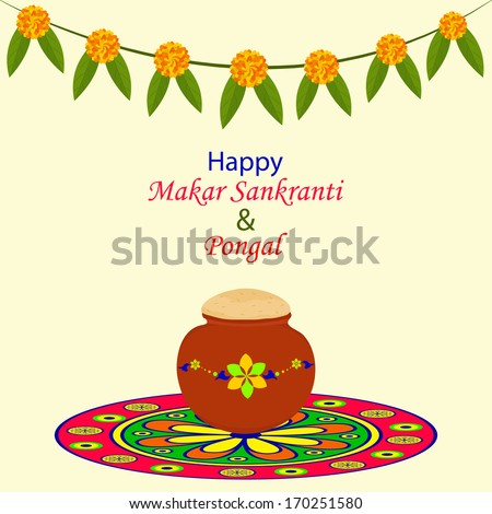 Greeting indian festival makar sankranti pongal stock vector greeting for indian festival makar sankranti pongal with rangoliflowersleavesmud m4hsunfo