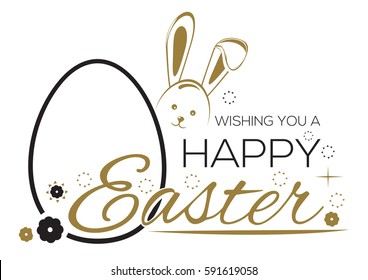 Greeting inscription with the Easter bunny and Easter eggs. Wishing You a Happy Easter. Easter holiday handwritten lettering card. Vector illustration
