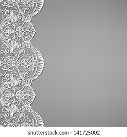 Greeting, invitation card with lace and floral ornaments