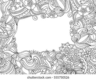 Greeting invitation card template in adult coloring book zentangle style. Vector floral border frame