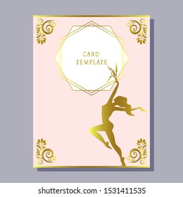 greeting invitation card template design with modern ballet dancers. Design for banner, flyer, invitation, poster, web site or greeting card. Vector illustration