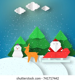 Greeting Landscape with Santa Claus and deer Christmas background paper origami style on can be used for congratulations with winter holidays this image is a vector illustration