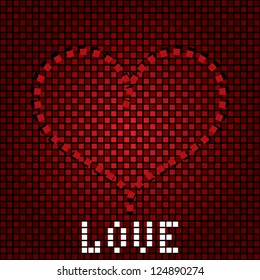 Greeting love background with heart on the creative backdrop. Vector illustration