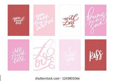 GREETING LOVE VECTOR HAND LETTERING POSTCARDS. YOU AND ME, YOU ARE MY SUNSHINE, WITH LOVE, BRING ME SUN, ALL I NEED IS LOVE, LOVE, I NEED YOU, KISS