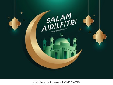 Greeting for muslim. Salam Aidilfitri means Happy Eid. Vector format.