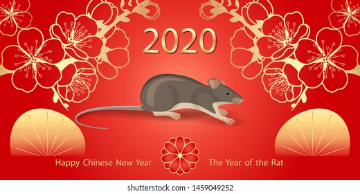 Greeting  New Year's card with golden  blossom and mouse rodent on red background. Rat is a symbol of the 2020 Chinese New Year.
