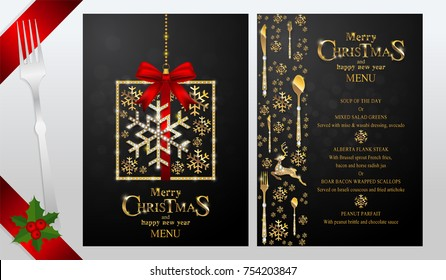 Greeting and New Years dinner menu card templates with gold patterned and crystals on background color.