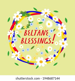 Greeting for the pagan Wiccan festival and holiday called Beltane. Design of a template or card.