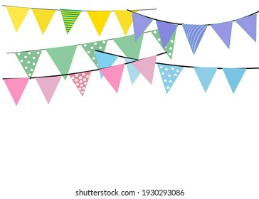 Greeting or Party invitation with carnival flag garlands. Part decorating concept with colorful hanging above.Vector illustration with copy space for your text.