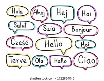 Greeting phrases in different languages. Handwritten lettering illustration. Black vector text in neon speech bubbles. Simple outline style