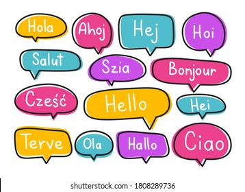 Greeting phrases in different languages. Handwritten lettering illustration. Black vector text in neon speech bubbles.