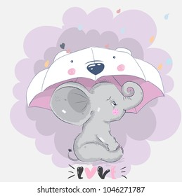 Greeting picture for MMS picture cute cartoon Elephant
