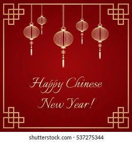 Greeting postcard to Chinese New Year. Golden ornamental frame with golden sky lanterns on deep red background with chinese ornament. Vector illustration