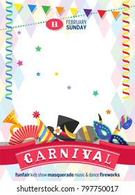 Greeting poster for Carnival with colorful festive elements separated on white background. Place for your text message. Flat design. Vector illustration.
