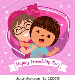 Greeting, Poster, Flyer or Card for Happy Friendship Day with Cute girls , People or Kids wallpaper design on decorative background vector illustration.