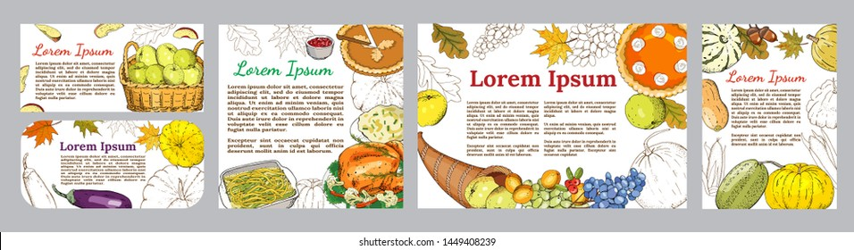 Greeting posters and banners with symbols of thanksgiving - roast Turkey, pumpkin pie, pumpkin, cranberry sauce, mashed potatoes, green beans, cornucopia, fruit, harvest.