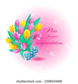 Greeting round card with a beautiful bouquet of spring tulips, bow and place for text. Vector greeting illustration for the holiday.