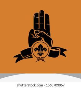 greeting scouting logo design inspiration, scouting design vector