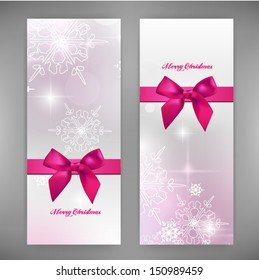 Greeting set cards with snowflakes. Vector