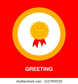 greeting Thank you tag on ribbon - label badge illustration isolated - thank you card