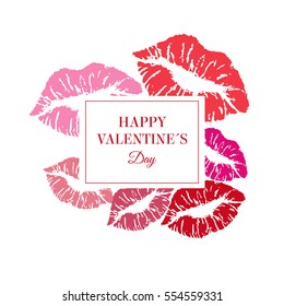 Greeting Valentin's card.  Vector template with lipstike kisses.