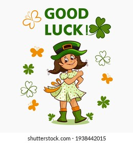 Greeting vector greeting card with girl in green hat clover leaf yellow butterfly and lettering Good luck