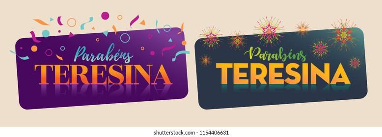 "Greeting Vector Illustration Saying ""Congratulations Teresina"". Brazilian City Anniversary message."