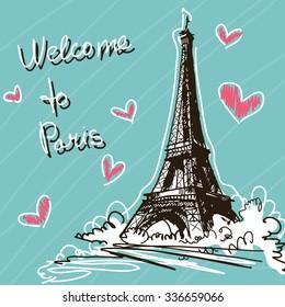 Greeting Vector Illustration. World Famous Landmark Series: France, Paris, Eiffel Tower. Welcome To Paris