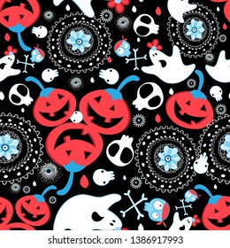 Greeting vector seamless halloween pattern with red pumpkins and skulls on dark decorative background