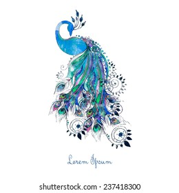 Greeting watercolor card with peacock. Frame of peacock made in vector. Perfect cards, or for any other kind of design, birthday and other holiday.Seamless hand drawn map with peacock.