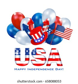 Greeting web banner Independence Day of America. Horizontal white background with a dimensional inscription USA painted in the colors of the national flag, balloons and ribbon with greeting lettering