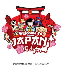 greeting welcome to japan with cute style cartoon