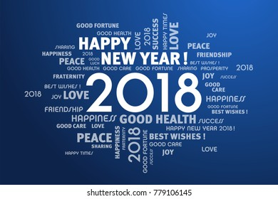 greeting words around new year date 2018 on blue background