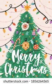 Greeting Xmas card with Merry Christmas inscription and fir tree decorated with light garland, stars and ornaments in retro style. Hand drawn colorful flat vector illustration