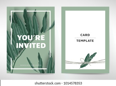 Greeting/invitation card template design, green leaves on green background, organic/nature theme