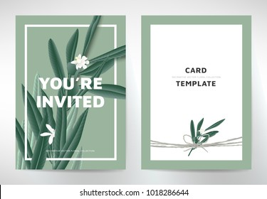 Greeting/invitation card template design, green olive leaves with white flowers on green background, organic/nature theme
