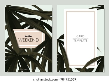 Greeting/invitation card template design, green palm leaves with frame on light green background