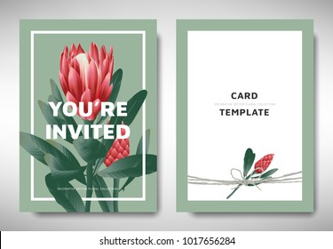 Greeting/invitation card template design, red protea flowers with leaves on green background, organic/nature theme
