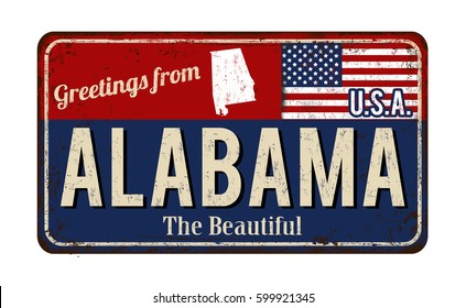 Greetings from Alabama vintage rusty metal sign on a white background, vector illustration