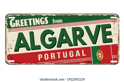 Greetings from Algarve vintage rusty metal plate on a white background, vector illustration