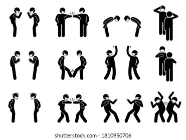 Greetings alternatives during pandemic coronavirus Covid-19. Vector stick figure of elbow bump, waving hand, bow, salute, foot tap, namaste, hand over heart, pointing finger, and hip bump.