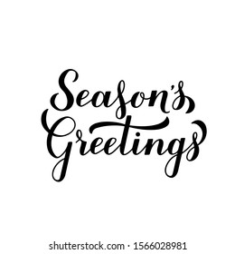 Season's Greetings calligraphy hand lettering isolated on white. Merry Christmas and Happy New Year typography poster. Easy to edit vector template for greeting card, banner, flyer, sticker, etc.