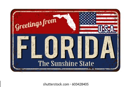 Greetings from Florida vintage rusty metal sign on a white background, vector illustration