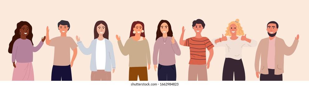 Greetings from friendly people from all over the world. Foreign language, women men greet each other. Flat Vector Illustration Banner