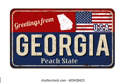 Greetings from Georgia vintage rusty metal sign on a white background, vector illustration