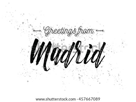 Greetings madrid spain greeting card typography stock vector greetings from madrid spain greeting card with typography lettering design hand drawn m4hsunfo